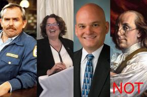 Cliff Clavin, Kristin Seaver, Gregory Crabb, NOT Benjamin Franklin.