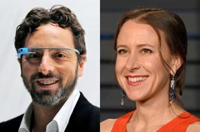 Sergey Brin (wearing Google Glasses) and Anne Wojcicki.
