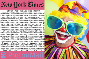 New York Times logo, their PGP public key, ProtonMail logo, goofy glasses media clown.